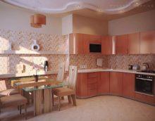 Прасковен цвят в интериора на кухнята